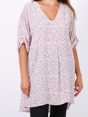Onesize bluse dame i +size med blomster print