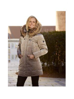 Danwear shiny vinterjakke dame med pels 3/4 længde