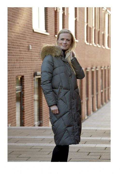 Danwear vinterjakke dame med pels og ekstra længde