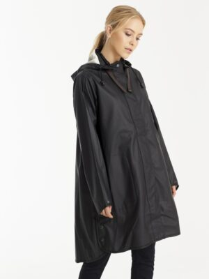 Ilse Jacobsen regnfrakke dame sort lang RAIN71