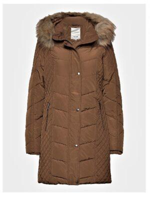 Soya Concept vinterjakke dame med fake fur pels brun SC-NINA7
