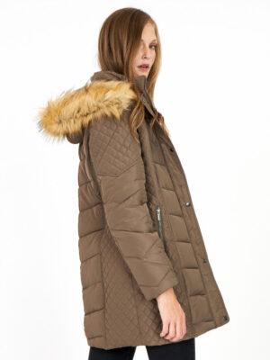 Soya Concept vinterjakke dame med fake fur pels grå SC-NINA7