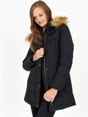Soya Concept vinterjakke dame med fake fur pels sort SC-NINA7