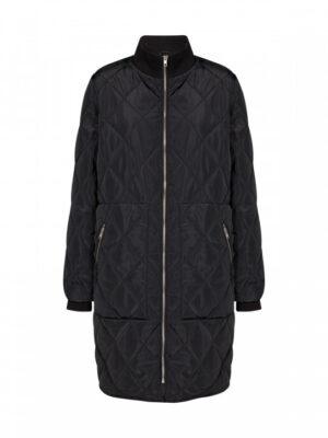 Soyaconcept quilt jakke dame overgangsjakke lang sort ASMINE2