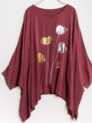 Oversize kjole dame i plus size med print