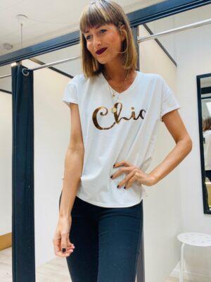 Kort ærmet t-shirt dame med skift og v-hals