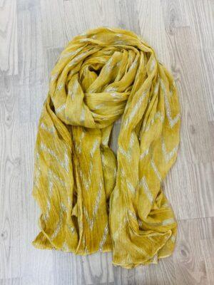 Bella Donna gult tørklæde dame med sølv mønstre