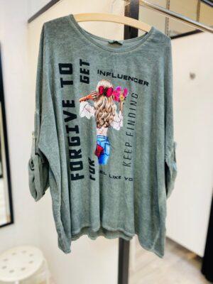 Bluse dame +size med print (grøn)