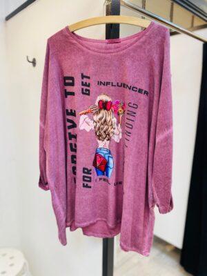 Bluse dame +size med print (rosa)