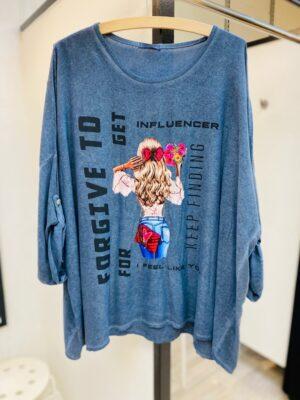 Bluse dame +size med print (blå)