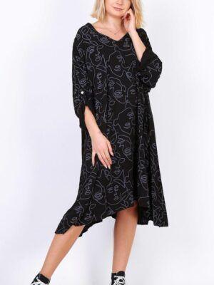 Flot onesize kjole med længde i print i plus size